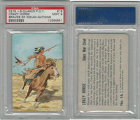 F279-8 Quaker, Braves of Indian Nations, 1956, #16 Crazy Horse, PSA 9 Mint