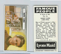 L0-0 Lyons Maid, Famous People, 1966, #16 Marie Curie