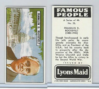 L0-0 Lyons Maid, Famous People, 1966, #20 Franklin D Roosevelt