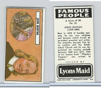 L0-0 Lyons Maid, Famous People, 1966, #22 John Bunyan