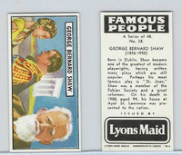L0-0 Lyons Maid, Famous People, 1966, #28 George Bernard Shaw