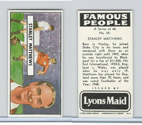 L0-0 Lyons Maid, Famous People, 1966, #34 Stanley Matthews
