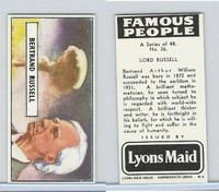 L0-0 Lyons Maid, Famous People, 1966, #36 Lord Russell