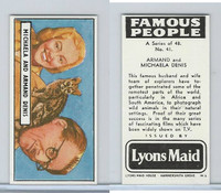 L0-0 Lyons Maid, Famous People, 1966, #41 Armand and Michaela Denis