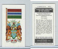 B0-0 Brooke Bond Tea, Flags & Emblems, 1973, #21 Gambia