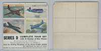 F Card Heckers Oats, War Plane Stamps, 1950's, Series D, Havoc...