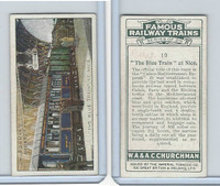 C82-48 Churchman, Famous Railway Trains, 1929, #19 Blue Train at Nice