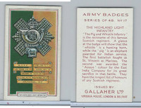 G12-72 Gallaher, Army Badges, 1939, #17 Highland Light Infantry