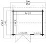 The floor plan for the Alex Mini Log Cabin.