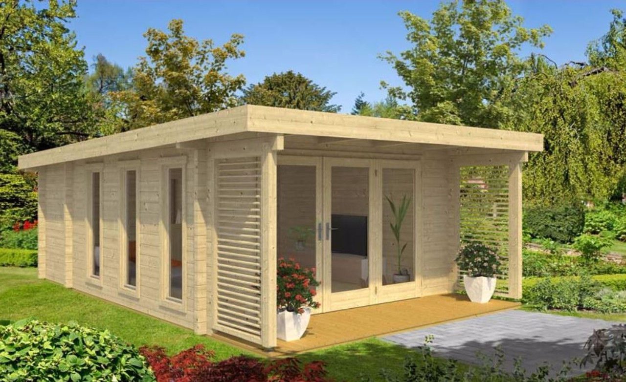 the exeter 1 from lasita maja is built with 70mm logs - Garden Sheds Exeter