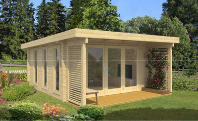 The Exeter 2 Log Cabin from Lasita Maja is built with 70mm logs.