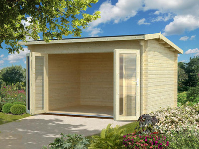 The Ines 1 Log Cabin from Palmako has a set of bi-fold doors allowing for this model to be a great hot tub room. This model has 44mm logs which are perfect for all year round use.
