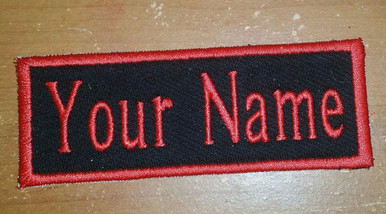 Image is loading RECTANGULAR-CUSTOM-EMBROIDERED-NAME-TAG-Sew-on-patch-