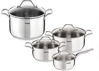 Tefal Intuition Polished Stainless Steel Pan Set of 8