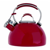 Prestige 50558 Enamel Stove Top Whistling Kettle in Red