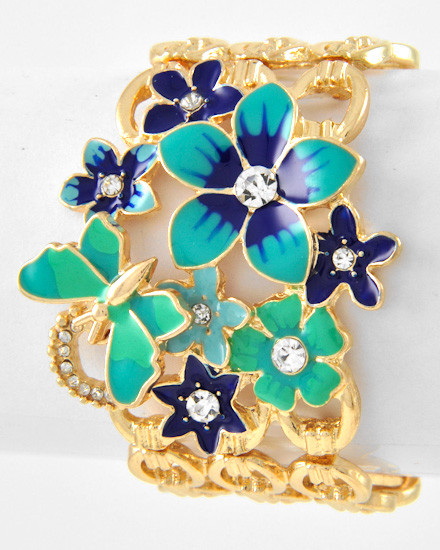 Flower, Butterfly and Gold Link Bracelet