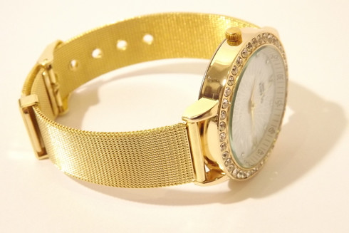 Golden Mesh Banded Watch