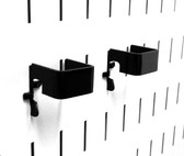2 Pack of Scratch & Dent 1in x 1in Slotted Metal Pegboard C-Brackets - Black