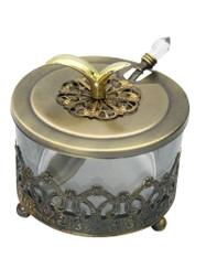 GLASS AND METAL HONEY DISH - DELUXE