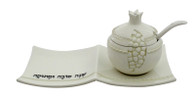 CERAMIC HONEY DISH SET WITH STONES - POMEGRANATE