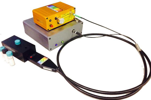 Raman Spectrometer System with Ramulaser⢠Raman laser, Raman-HR-TEC high sensitivity spectrometer, & Raman probe & holder.