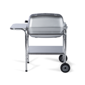 The Classic PK Grill & Smoker portable charcoal barbecue grill in brilliant silver.