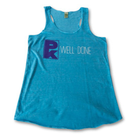 Women's PK Well Done Tank - Turquoise With Purple