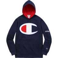 Supreme Champion Satin Logo Hooded Sweatshirt Navy