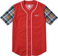 Supreme Denim Flannel Baseball Shirt Red