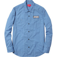 Supreme Striped Work Shirt  Blue