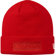 Supreme New Era Box Logo Beanie Red on Red