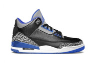 Air Jordan 3 Retro Black / Sport Blue-Wolf Grey Size 8.5