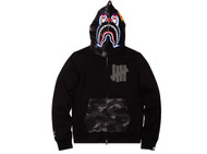 UNDEFEATED X BAPE PIERROT SHARK FULL ZIP HOODY BLACK