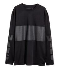Alexander Wang H&M Men's Unisex Mesh Long Sleeve Shirt Black And White