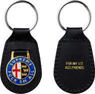 Supreme Enamel Leather Keychain Black
