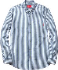 Supreme Striped Denim Shirt Blue