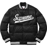 Supreme Script Varsity Puffy Jacket Black