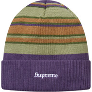 Supreme Multi Stripe Beanie Purple