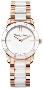 Two-tone style fashion statement - with its exquisite design comprising clear, white ceramic and elegant, rose gold-coloured stainless steel, this classic will immediately become a style accessory favourite.