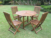 International Caravan Highland Acacia 5-piece Stowaway Patio Furniture Set