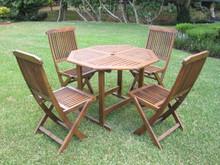 International Caravan Highland Acacia 5-piece Stowaway Patio Furniture Set