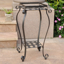 International Caravan Mandalay Square Iron Plant Stand