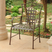 International Caravan Mandalay Iron Lattice Lawn Chairs (Set of 2)