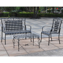 International Caravan Mandalay Iron 3 Piece Settee Group