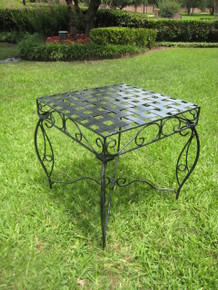 International Caravan Mandalay Antique Black Square Iron Side Table
