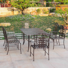 International Caravan Mandalay Wrought Iron 7 Piece Rectangular Dining Set