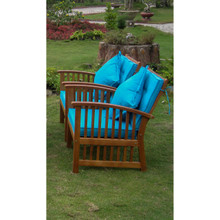 International Caravan Royal Tahiti Phuket Yellow Balau Hardwood Armchairs with Cushions and Throw Pillows