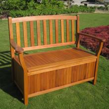 International Caravan Royal Tahiti Yellow Balau Hardwood 2-Seater Storage Trunk/Bench