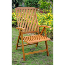 International Caravan Royal Tahiti Sarragossa Yellow Balau Wood Outdoor Contoured Five-Position Folding Armchairs (Set of 2)