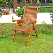 International Caravan Royal Tahiti Freeport Yellow Balau Wood Outdoor Five-Position Folding Armchairs (Set of 2)